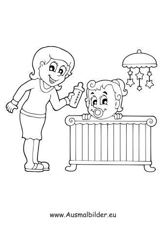 Ausmalbild Babysitten