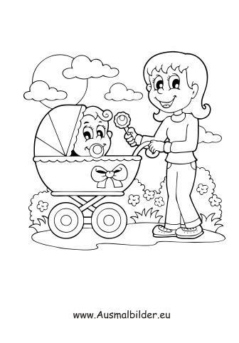 Ausmalbild Babysitter
