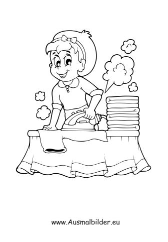 Ausmalbild Wäsche bügeln