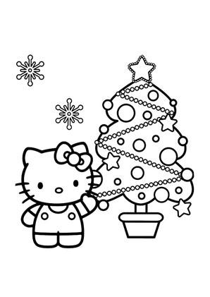 Ausmalbilder Kittty mit Weihnachtsbaum - Hello Kitty Malvorlagen ...