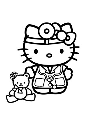Ausmalbilder Kitty als Arzt - Hello Kitty Malvorlagen ausmalen
