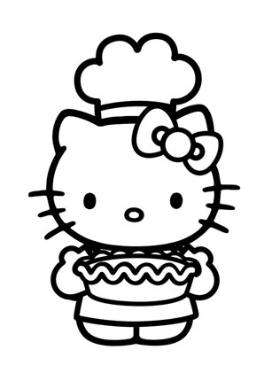Ausmalbilder Kitty beim Backen - Hello Kitty Malvorlagen ausmalen