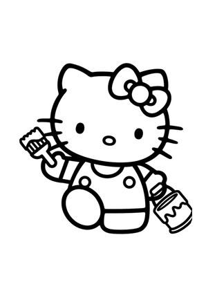 ausmalbilder kitty beim malen - hello kitty malvorlagen