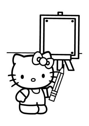 ausmalbilder kitty in der schule - hello kitty malvorlagen ausmalen
