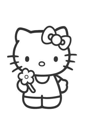 Ausmalbilder Kitty mit Blume in der Hand - Hello Kitty Malvorlagen ...