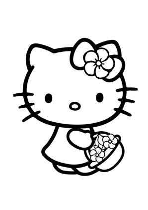 ausmalbilder kitty mit blumenkorb hello kitty. Black Bedroom Furniture Sets. Home Design Ideas