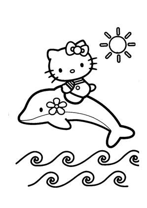 Ausmalbilder Kitty mit Delfin - Hello Kitty Malvorlagen ausmalen