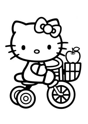 Ausmalbilder Kitty mit Dreirad - Hello Kitty Malvorlagen ausmalen