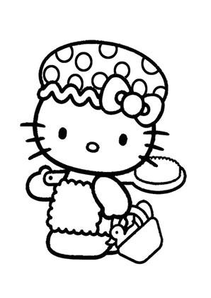 ausmalbilder kitty mit mütze - hello kitty malvorlagen