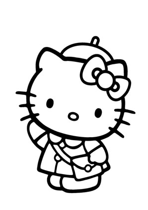 ausmalbilder kitty mit umhängetasche - hello kitty