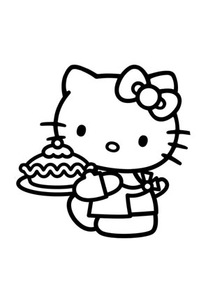 ausmalbilder mimmy beim kuchenbacken - hello kitty malvorlagen ausmalen