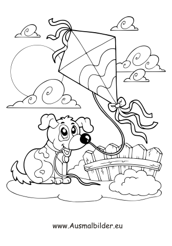 Herbst drachen malvorlage  Ausmalbilder Hund und Drachen steigen - Herbst Malvorlagen