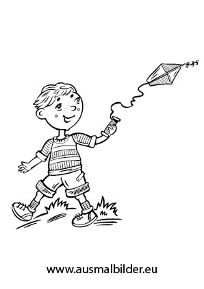 Ausmalbild Kind Beim Drachensteigen Kostenlos Ausdrucken