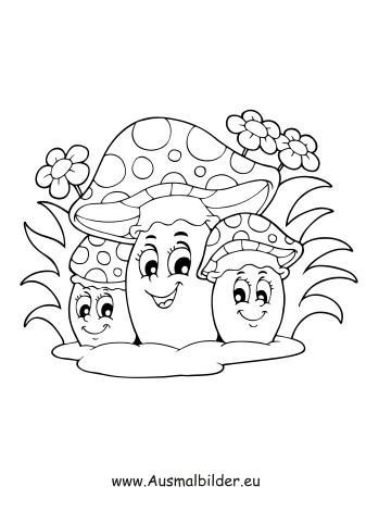 ausmalbilder verschiedene pilze - herbst malvorlagen
