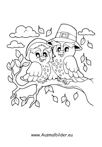 Ausmalbilder Vögel Auf Dem Baum Im Herbst Herbst Malvorlagen