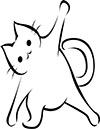 Katze macht Dehnübung Ausmalbild