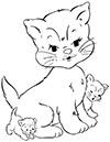 Katze mit 2 Babys Ausmalbild
