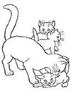 Katze mit Babies Ausmalbild