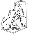 Katze sitzt vor Spiegel Ausmalbild