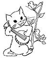Katze spielt Banjo Ausmalbild