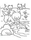 Katzenbabys am See Ausmalbild