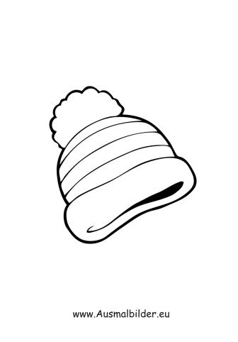 Ausmalbilder Bommelmütze - Kleidung Malvorlagen