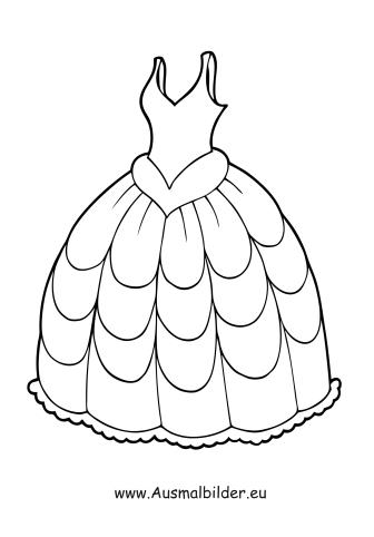 Ausmalbilder Brautkleid - Kleidung Malvorlagen