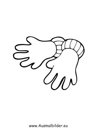 Ausmalbilder Handschuhe - Kleidung Malvorlagen
