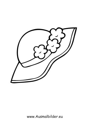 Ausmalbilder Hut mit Blumen - Kleidung Malvorlagen