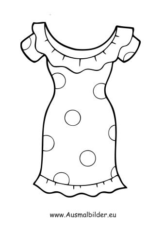 Ausmalbilder Kleid mit Tupfen - Kleidung Malvorlagen