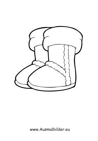 Ausmalbilder Winterstiefel - Kleidung Malvorlagen