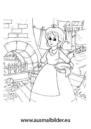 Ausmalbilder Aschenputtel - Märchen Malvorlagen ausmalen