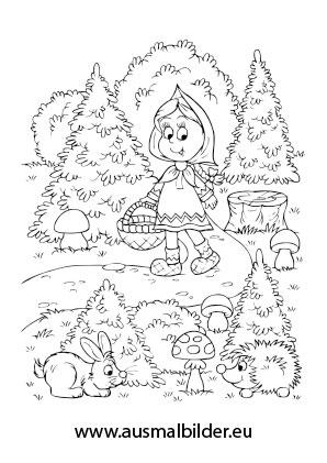 Ausmalbild Rotkappchen Im Wald Kostenlos Ausdrucken