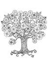 Ausmalbild Baum mit Blüten