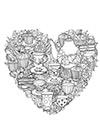 Ausmalbild Herz mit Teetafel