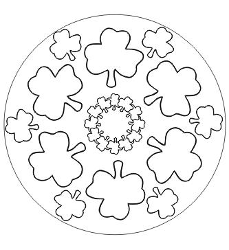 Ausmalbild Kleeblatt Mandala