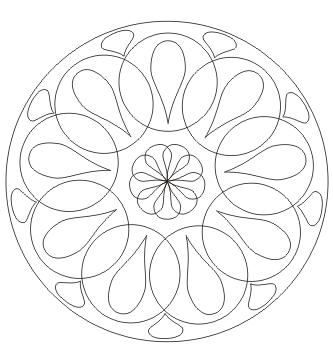 Ausmalbild Mandala Kreise Tropfen