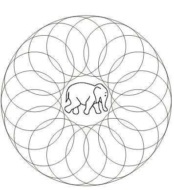 Ausmalbild Mandala mit Elefant