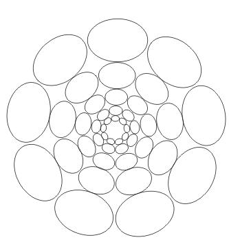Ausmalbild Mandala mit Elipsen
