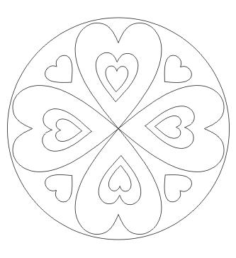 Ausmalbild Mandala mit Herz