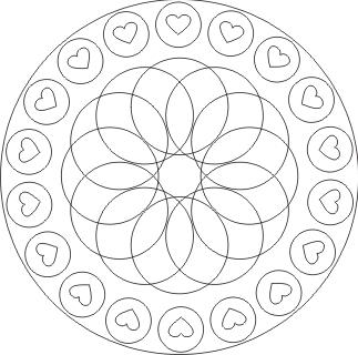 Ausmalbilder Mandala Mit Herzen Und Kreisen Malvorlagen