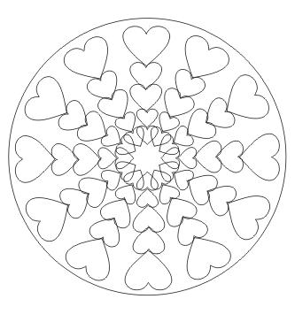 Ausmalbilder Mandala mit Herzen - Malvorlagen