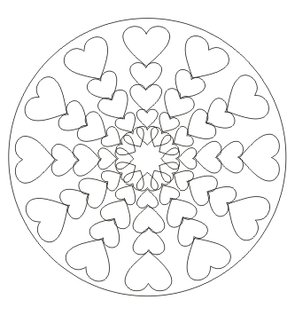 ausmalbild mandala mit herzen kostenlos ausdrucken