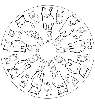 Ausmalbild Mandala mit Katzen