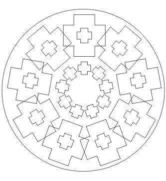 Ausmalbilder Mandala mit Kreuzen - Malvorlagen