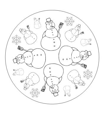 Ausmalbild Mandala mit Schneemann