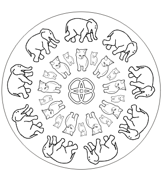 Ausmalbild Mandala mit Tieren