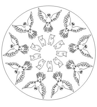 Ausmalbild Tier Mandala