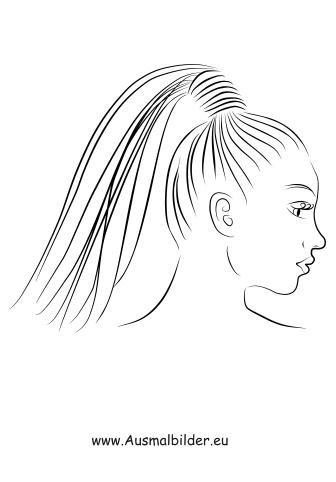 Ausmalbilder Frau mit Pferdeschwanz - Gesichter und Frisuren Malvorlagen