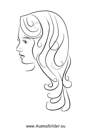 Ausmalbilder Frau mit langem Haar - Gesichter und Frisuren Malvorlagen